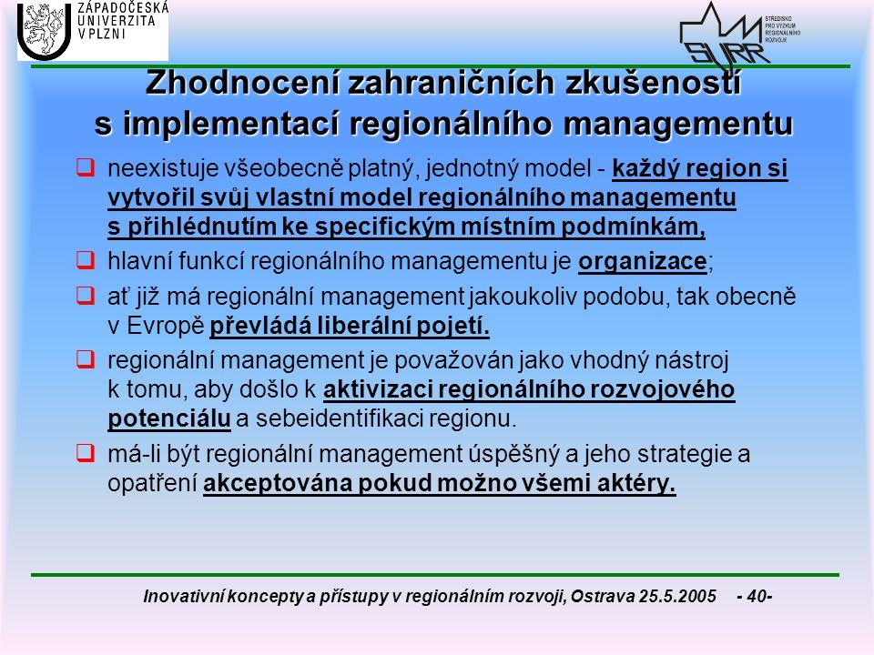 Zhodnocení zahraničních zkušeností s implementací regionálního managementu