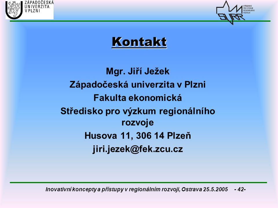 Kontakt Mgr. Jiří Ježek Západočeská univerzita v Plzni