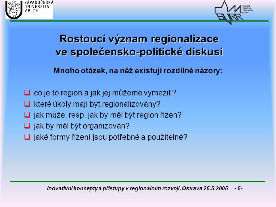 Rostoucí význam regionalizace ve společensko-politické diskusi