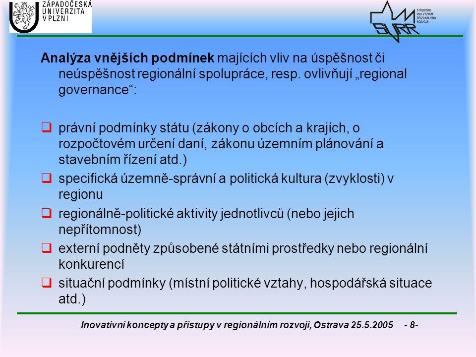 """Analýza vnějších podmínek majících vliv na úspěšnost či neúspěšnost regionální spolupráce, resp. ovlivňují """"regional governance :"""