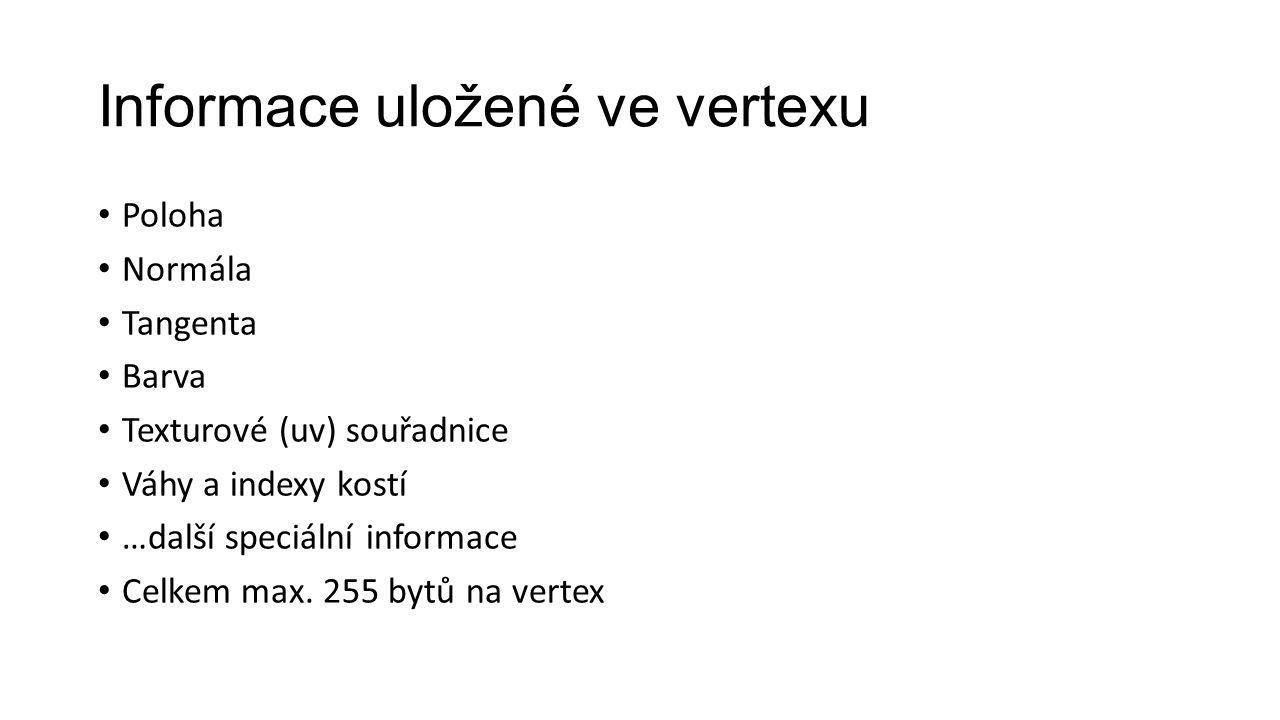 Informace uložené ve vertexu