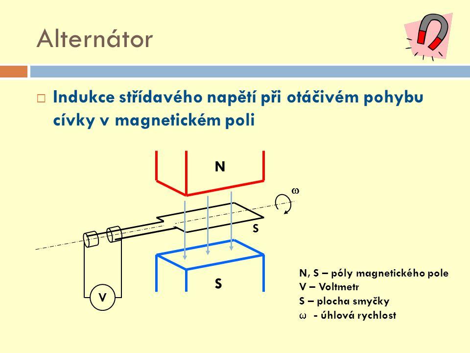 Alternátor Indukce střídavého napětí při otáčivém pohybu cívky v magnetickém poli. N. S. V.  N, S – póly magnetického pole.