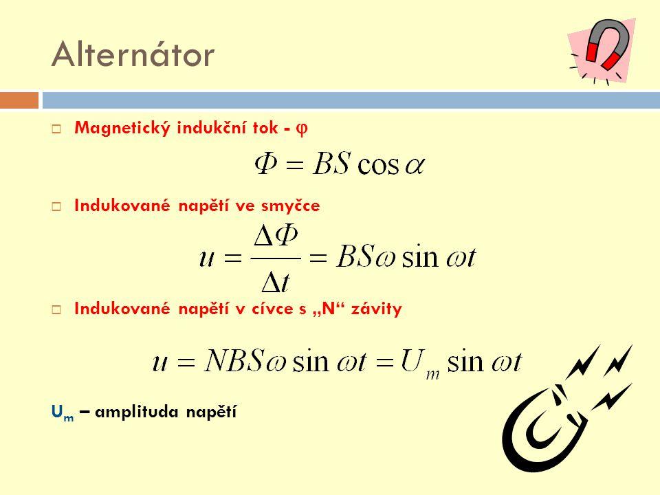 Alternátor Magnetický indukční tok -  Indukované napětí ve smyčce
