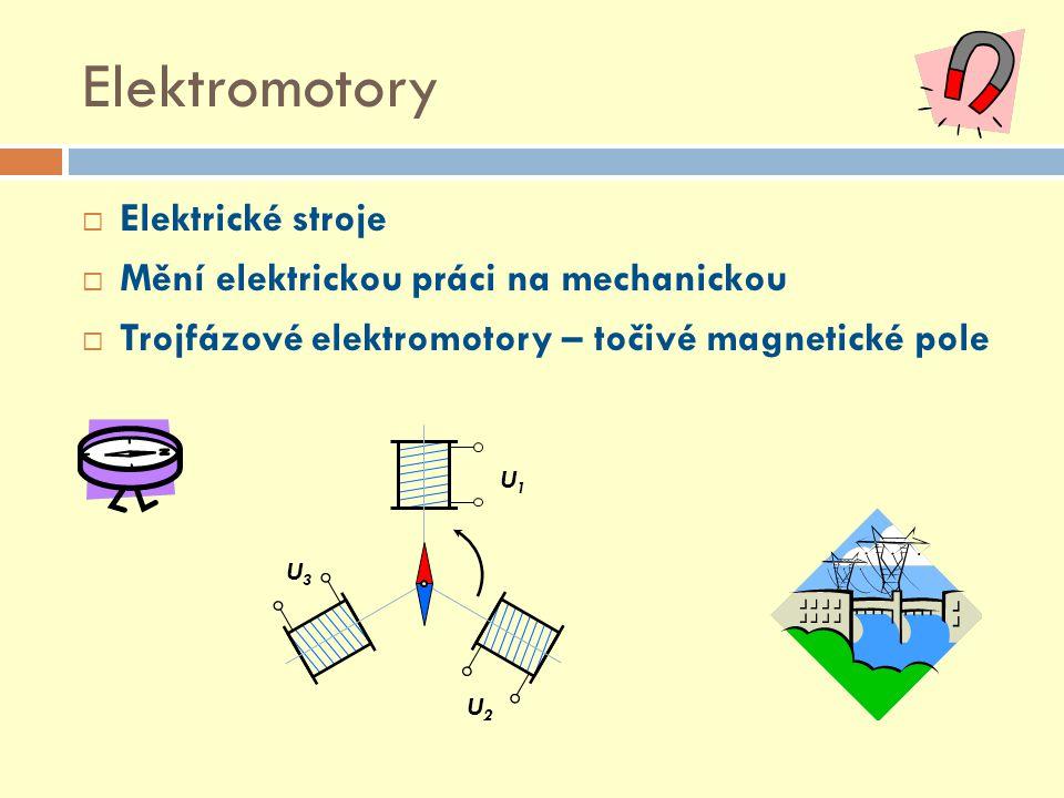 Elektromotory Elektrické stroje Mění elektrickou práci na mechanickou