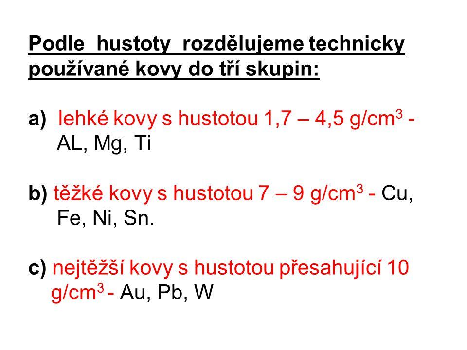 Podle hustoty rozdělujeme technicky používané kovy do tří skupin: