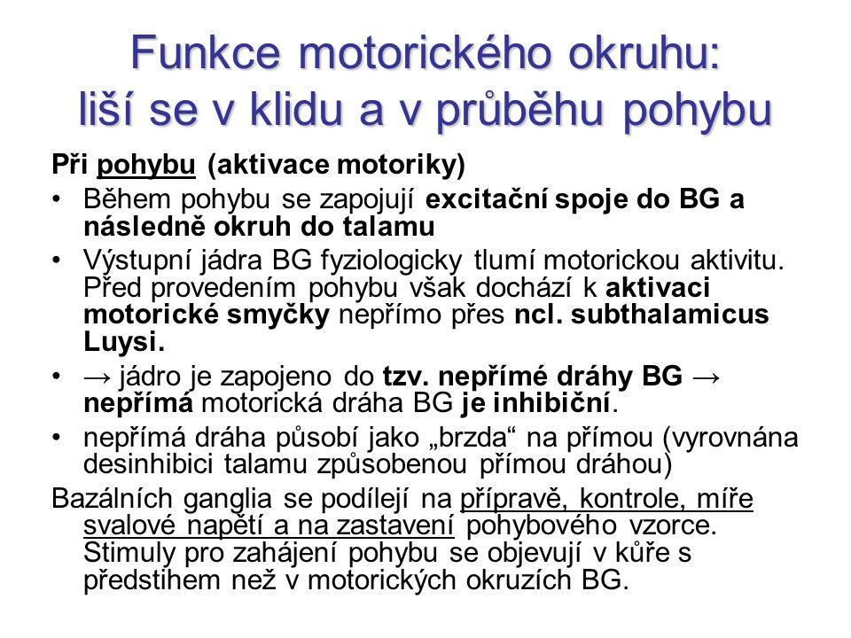 Funkce motorického okruhu: liší se v klidu a v průběhu pohybu