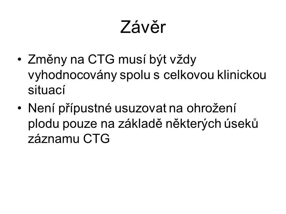 Závěr Změny na CTG musí být vždy vyhodnocovány spolu s celkovou klinickou situací.