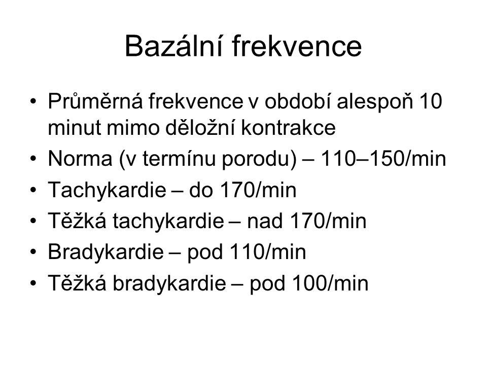 Bazální frekvence Průměrná frekvence v období alespoň 10 minut mimo děložní kontrakce. Norma (v termínu porodu) – 110–150/min.