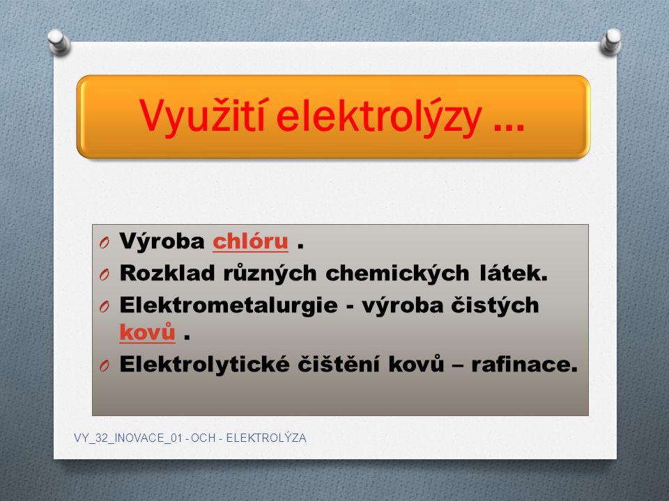 Využití elektrolýzy … Výroba chlóru .
