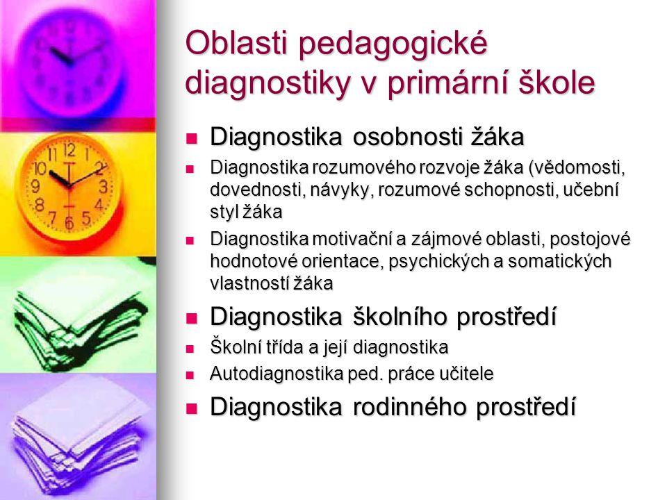 Oblasti pedagogické diagnostiky v primární škole