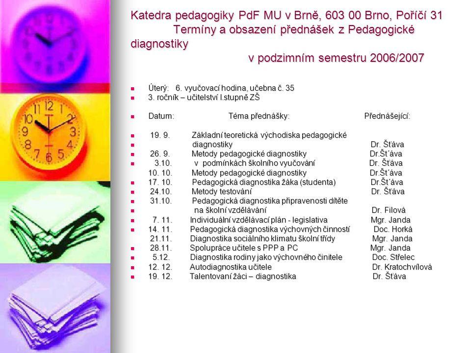 Katedra pedagogiky PdF MU v Brně, 603 00 Brno, Poříčí 31 Termíny a obsazení přednášek z Pedagogické diagnostiky v podzimním semestru 2006/2007
