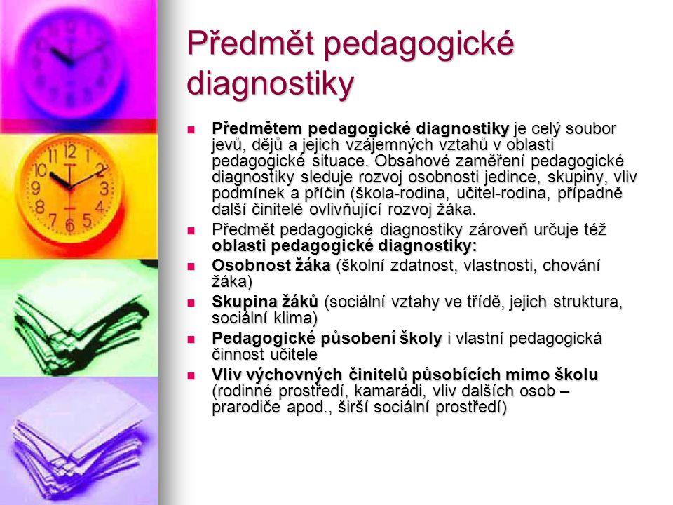 Předmět pedagogické diagnostiky