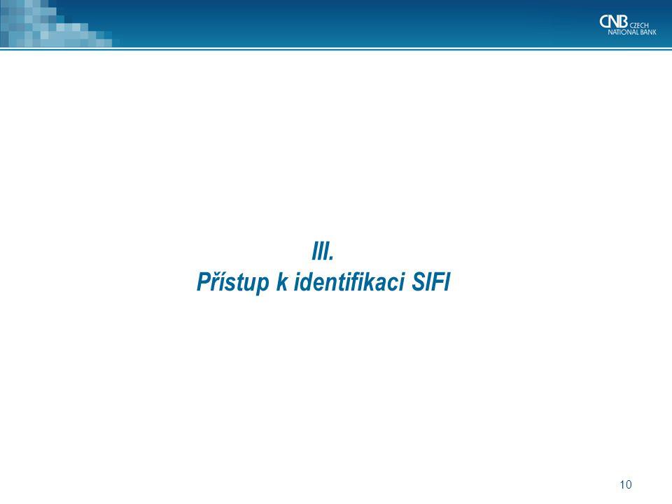 III. Přístup k identifikaci SIFI
