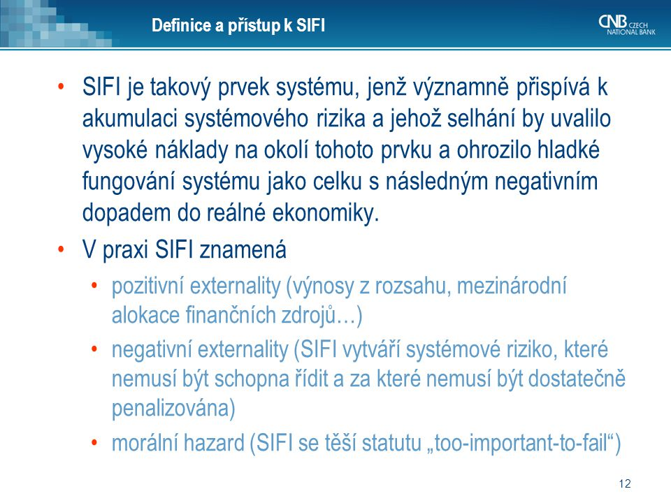 Definice a přístup k SIFI