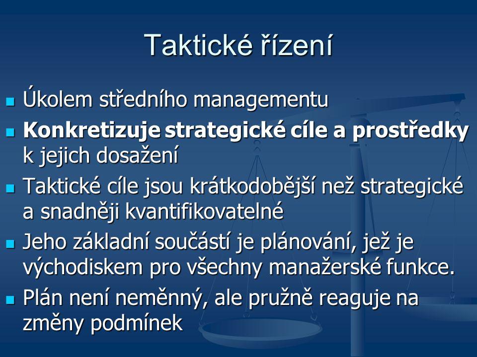 Taktické řízení Úkolem středního managementu
