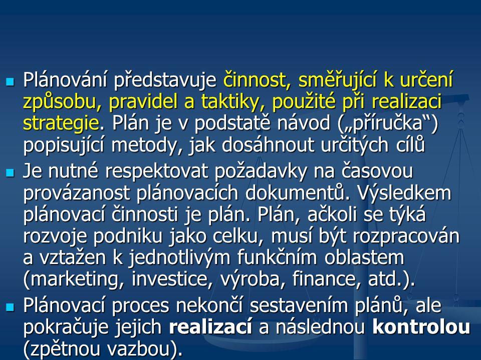 """Plánování představuje činnost, směřující k určení způsobu, pravidel a taktiky, použité při realizaci strategie. Plán je v podstatě návod (""""příručka ) popisující metody, jak dosáhnout určitých cílů"""