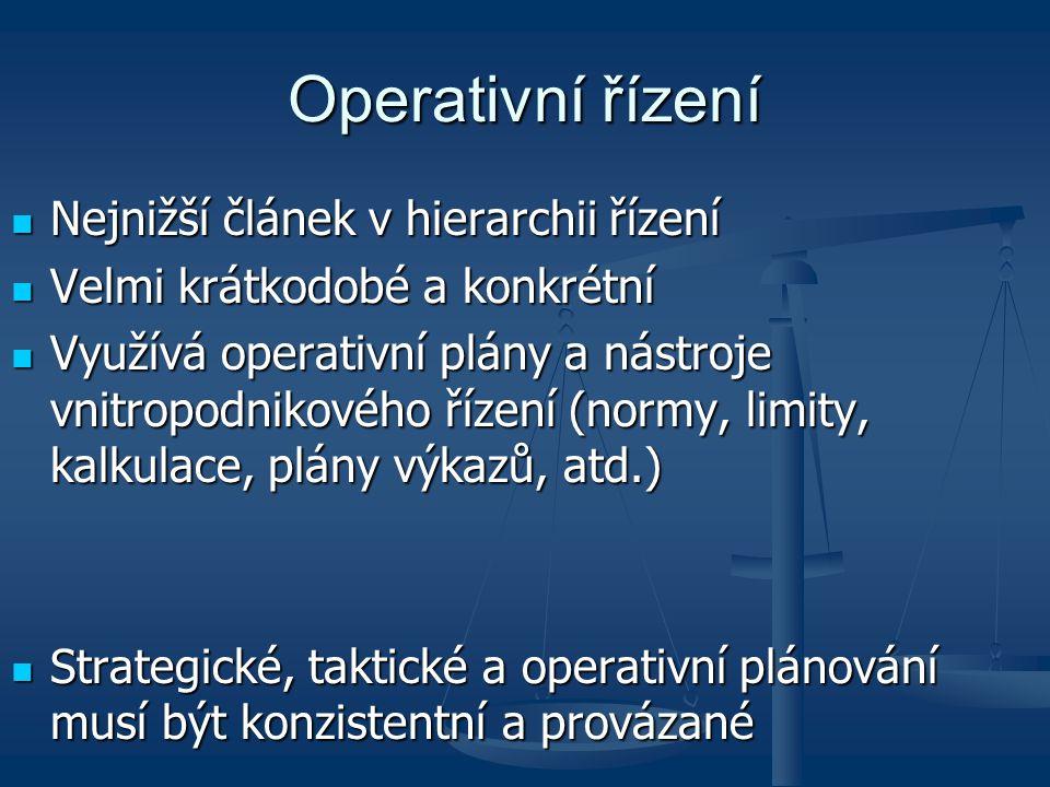 Operativní řízení Nejnižší článek v hierarchii řízení