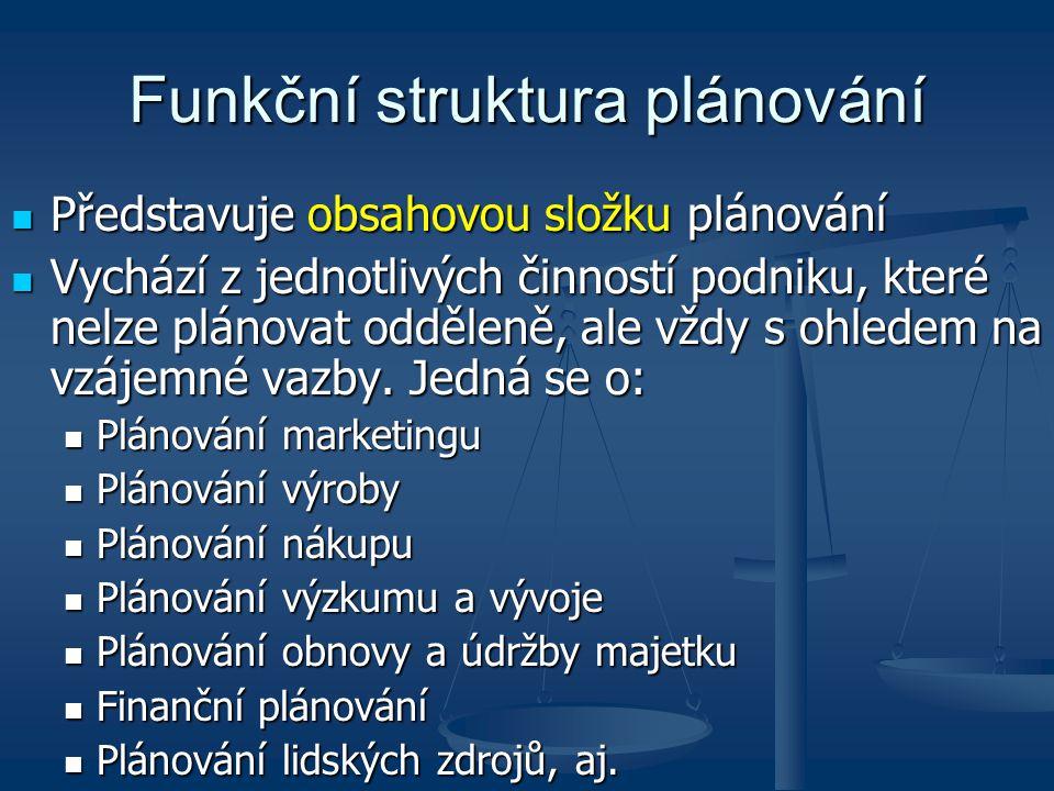 Funkční struktura plánování