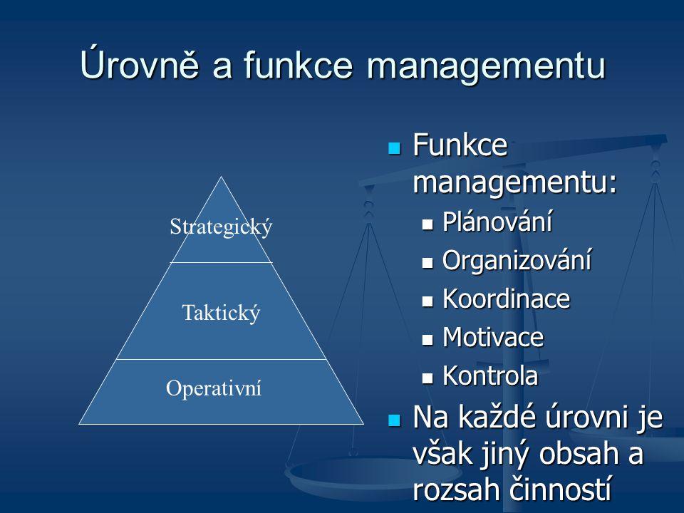 Úrovně a funkce managementu