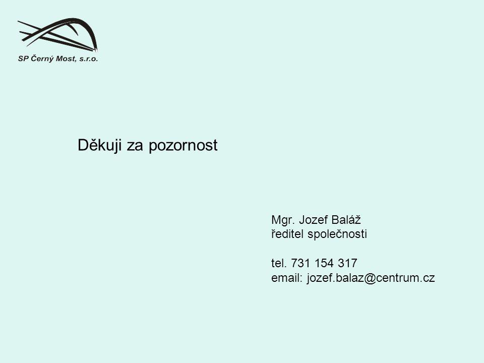 Děkuji za pozornost Mgr. Jozef Baláž ředitel společnosti