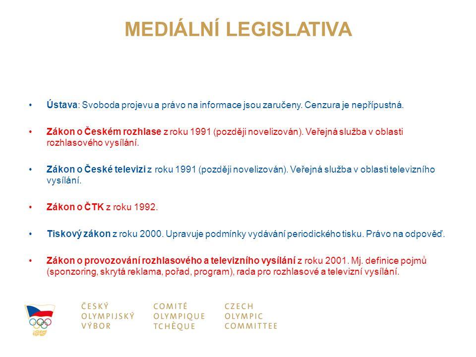 MEDIÁLNÍ LEGISLATIVA Ústava: Svoboda projevu a právo na informace jsou zaručeny. Cenzura je nepřípustná.