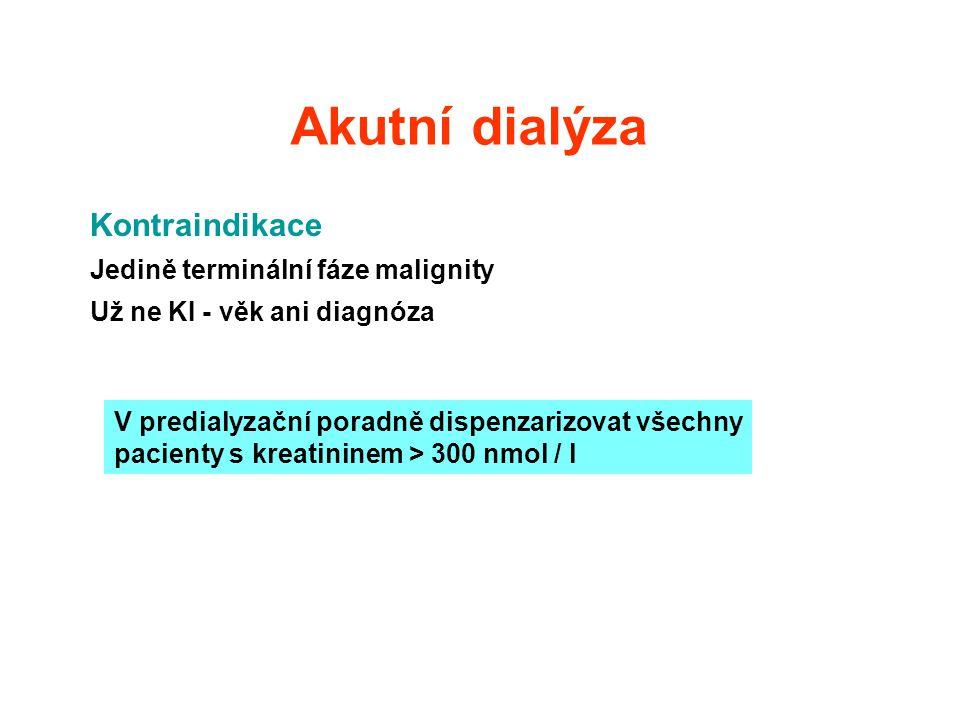 Akutní dialýza Kontraindikace Jedině terminální fáze malignity