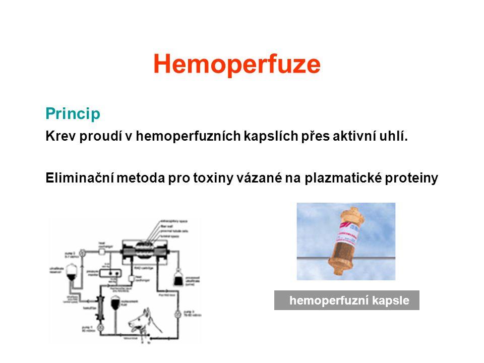 Hemoperfuze Princip. Krev proudí v hemoperfuzních kapslích přes aktivní uhlí. Eliminační metoda pro toxiny vázané na plazmatické proteiny.