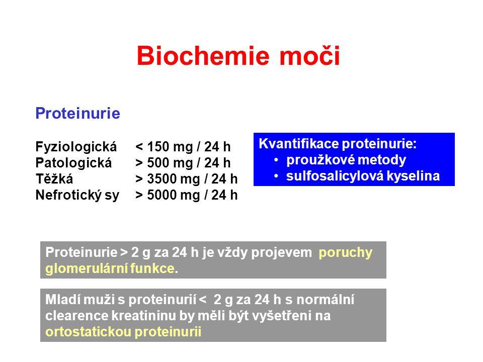 Biochemie moči Proteinurie Fyziologická < 150 mg / 24 h