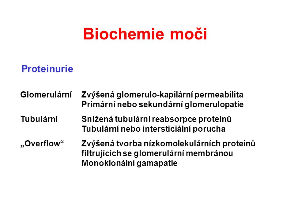 Biochemie moči Proteinurie