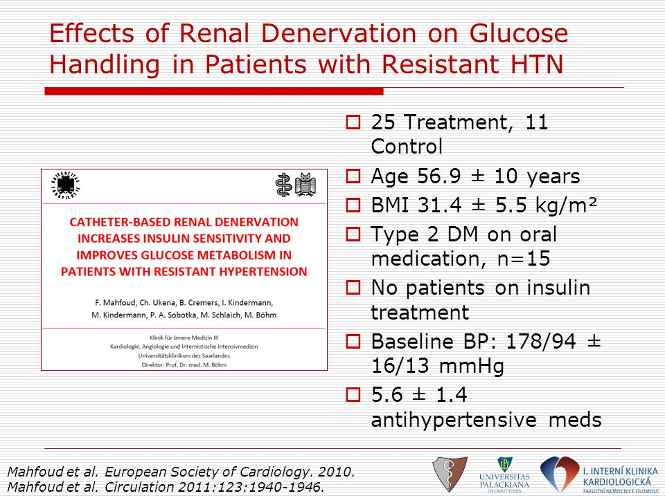 Effects of Renal Denervation on Glucose Handling in Patients with Resistant HTN