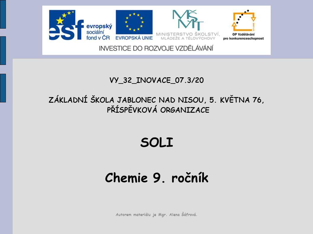 SOLI Chemie 9. ročník VY_32_INOVACE_07.3/20