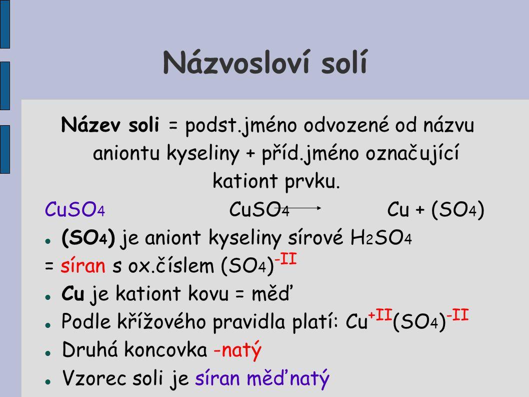 Názvosloví solí Název soli = podst.jméno odvozené od názvu aniontu kyseliny + příd.jméno označující kationt prvku.