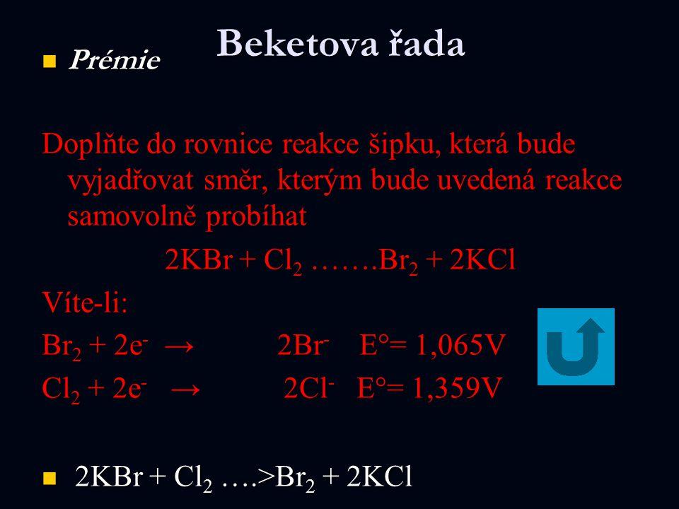 Beketova řada Prémie. Doplňte do rovnice reakce šipku, která bude vyjadřovat směr, kterým bude uvedená reakce samovolně probíhat.