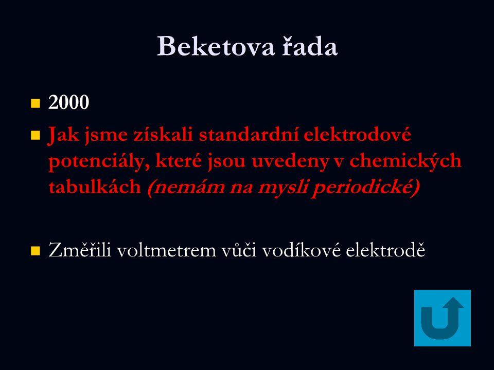 Beketova řada 2000. Jak jsme získali standardní elektrodové potenciály, které jsou uvedeny v chemických tabulkách (nemám na mysli periodické)