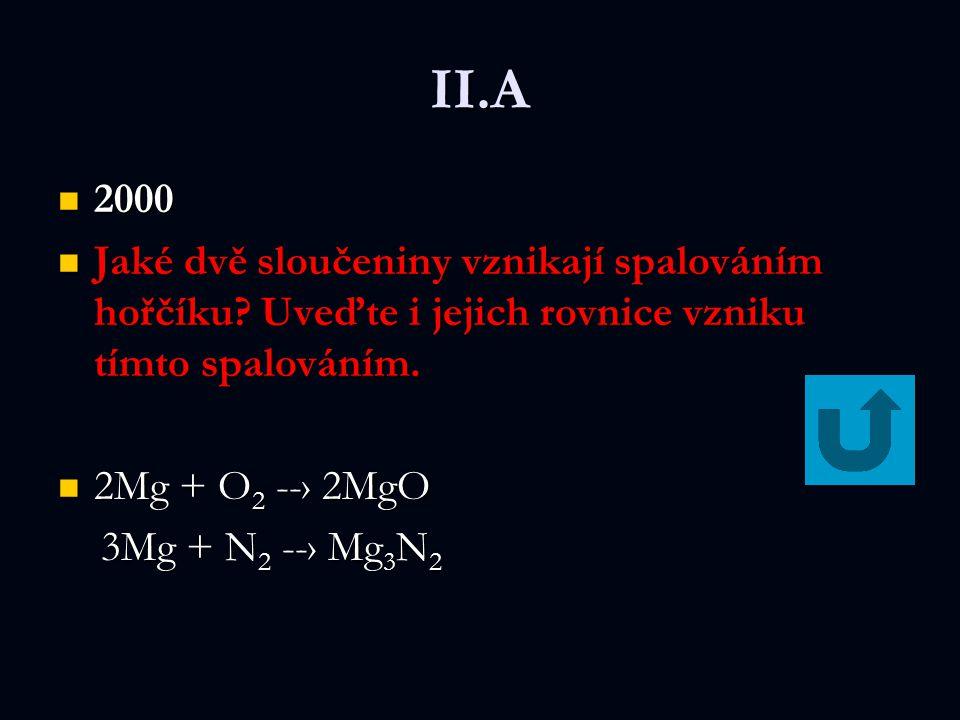 II.A 2000. Jaké dvě sloučeniny vznikají spalováním hořčíku Uveďte i jejich rovnice vzniku tímto spalováním.