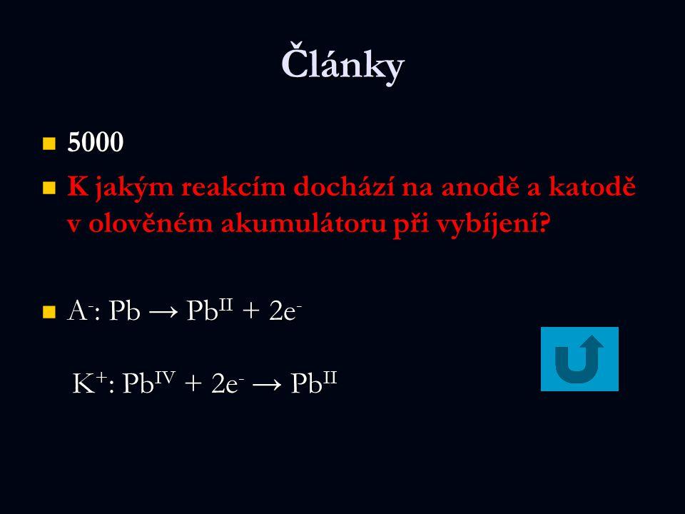 Články 5000. K jakým reakcím dochází na anodě a katodě v olověném akumulátoru při vybíjení A-: Pb → PbII + 2e-