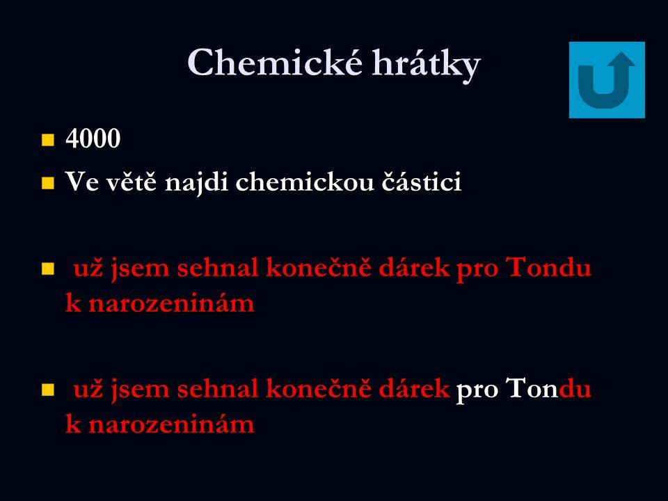 Chemické hrátky 4000 Ve větě najdi chemickou částici