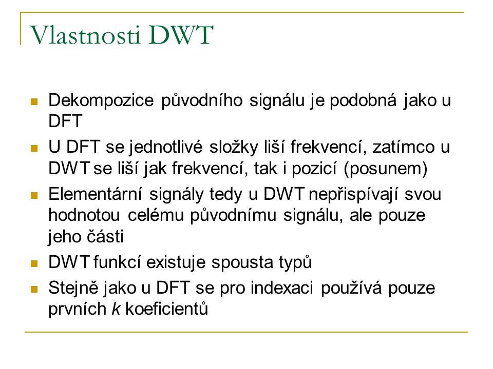 Vlastnosti DWT Dekompozice původního signálu je podobná jako u DFT