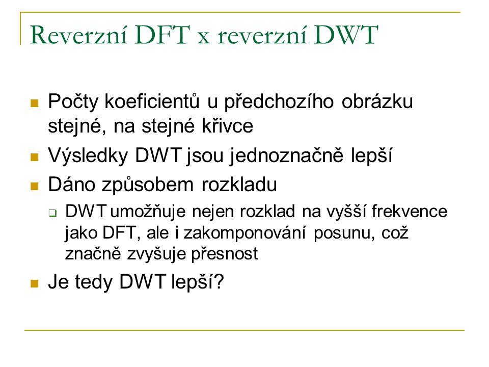Reverzní DFT x reverzní DWT