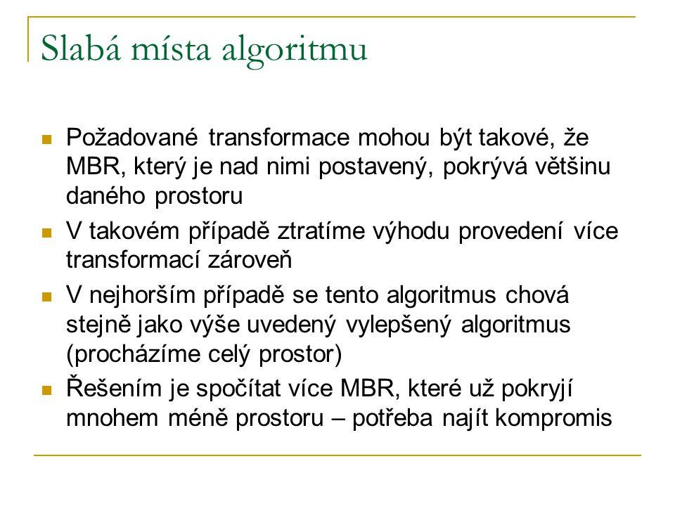 Slabá místa algoritmu Požadované transformace mohou být takové, že MBR, který je nad nimi postavený, pokrývá většinu daného prostoru.