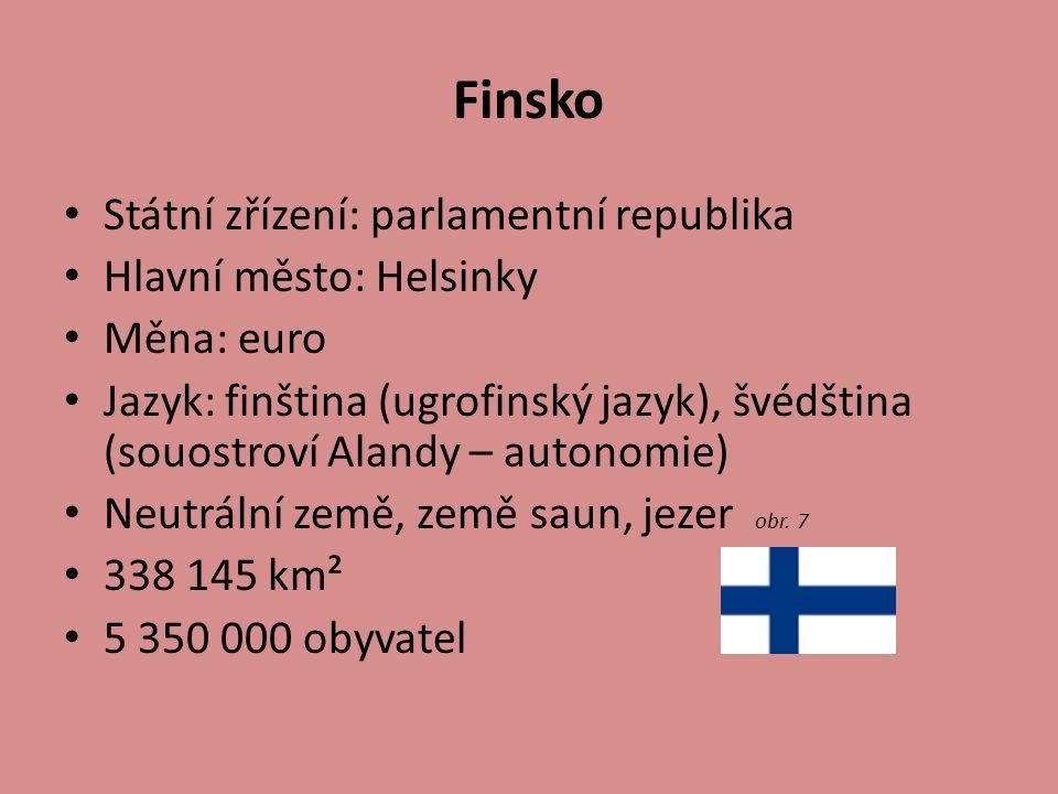 Finsko Státní zřízení: parlamentní republika Hlavní město: Helsinky