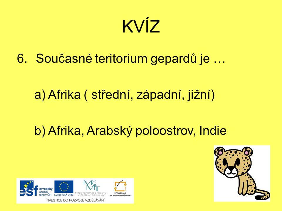 KVÍZ Současné teritorium gepardů je …