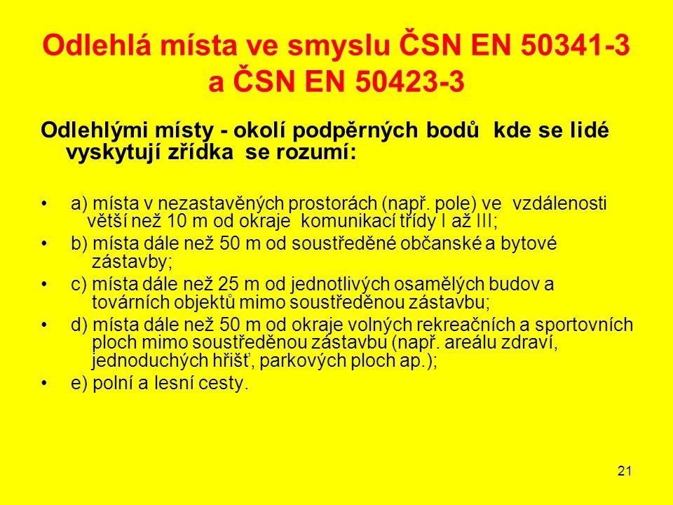 Odlehlá místa ve smyslu ČSN EN 50341-3 a ČSN EN 50423-3