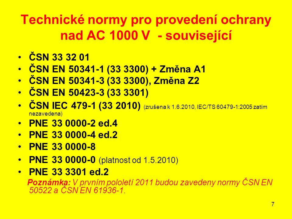 Technické normy pro provedení ochrany nad AC 1000 V - související
