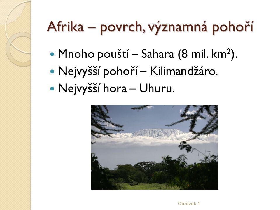 Afrika – povrch, významná pohoří