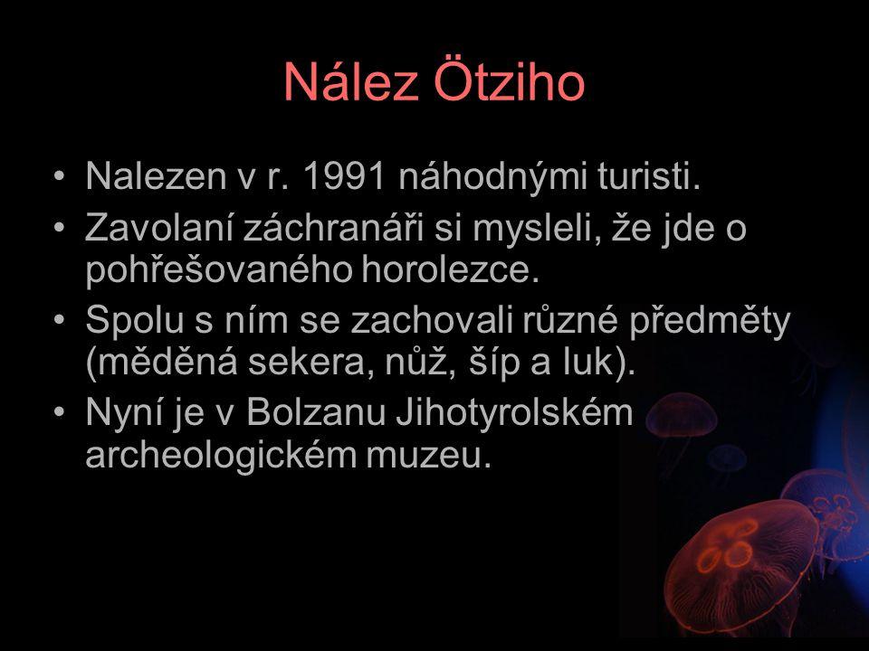 Nález Ötziho Nalezen v r. 1991 náhodnými turisti.