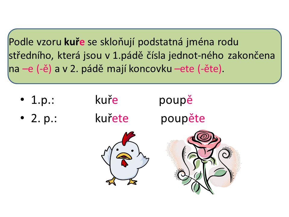1.p.: kuře poupě 2. p.: kuřete poupěte