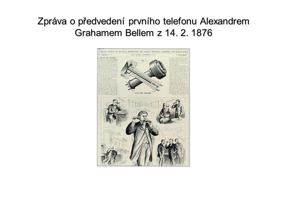 Zpráva o předvedení prvního telefonu Alexandrem Grahamem Bellem z 14. 2. 1876