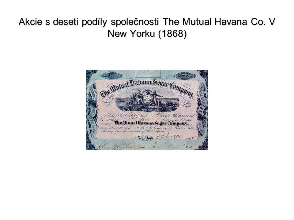 Akcie s deseti podíly společnosti The Mutual Havana Co