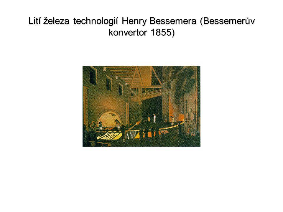 Lití železa technologií Henry Bessemera (Bessemerův konvertor 1855)